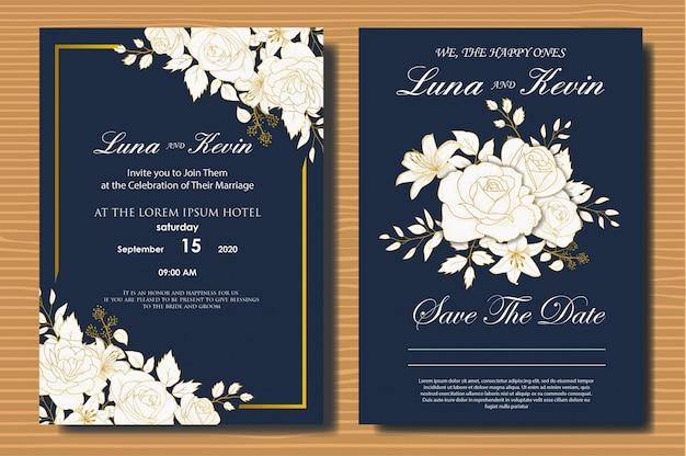Faire-part de mariage floral dessiné main élégante
