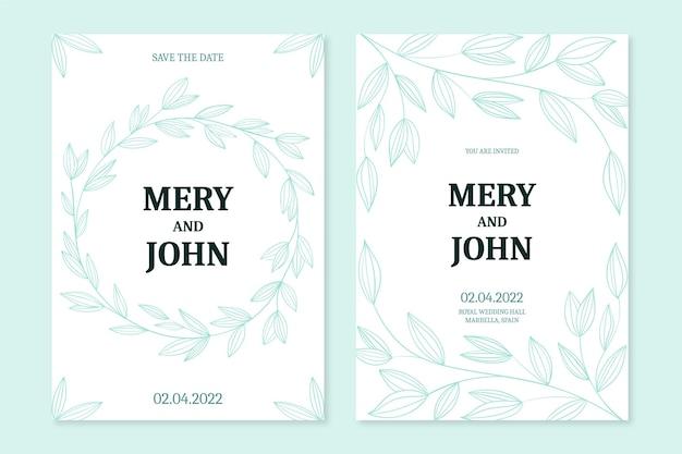 Faire-part de mariage floral de gravure