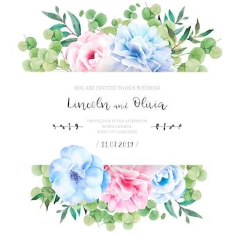 Faire-part de mariage floral avec de jolies fleurs
