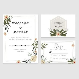 Faire-part de mariage floral moderne