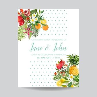 Faire-part de mariage avec fruits et fleurs tropicaux
