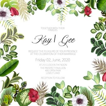 Faire-part de mariage, invitation florale merci, carte moderne rsvp conception: couronne de feuilles de palmier tropical vert verdure eucalyptus