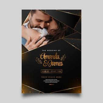 Faire-part de mariage de luxe doré dégradé avec photo