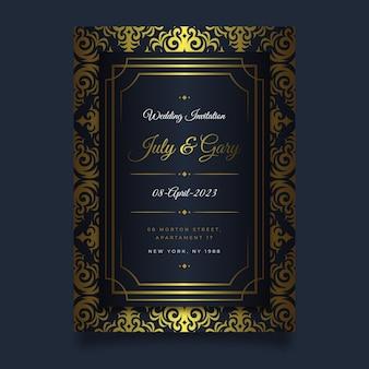 Faire-part de mariage de luxe doré dégradé