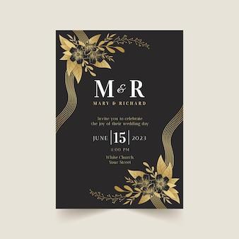 Faire-part de mariage de luxe doré réaliste