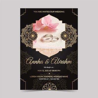 Faire-part de mariage musulman de luxe doré dégradé