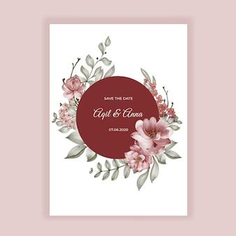 Faire-part de mariage rond de cadre aquarelle fleur de roses bordeaux