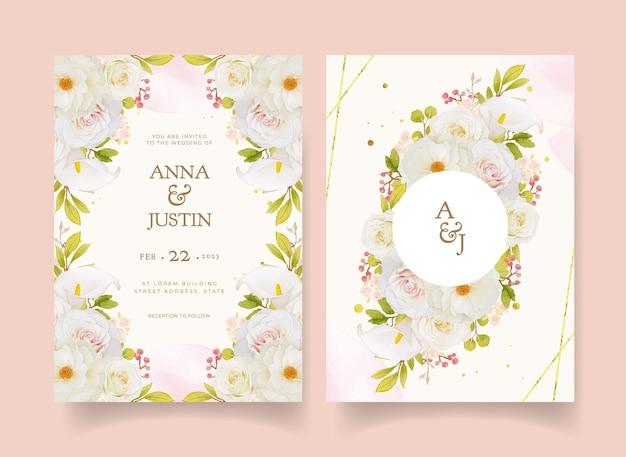 Faire-part de mariage avec roses blanches aquarelles et lis calla