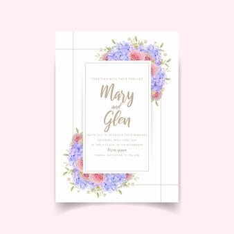 Faire-part de mariage avec roses et fleurs d'hortensia