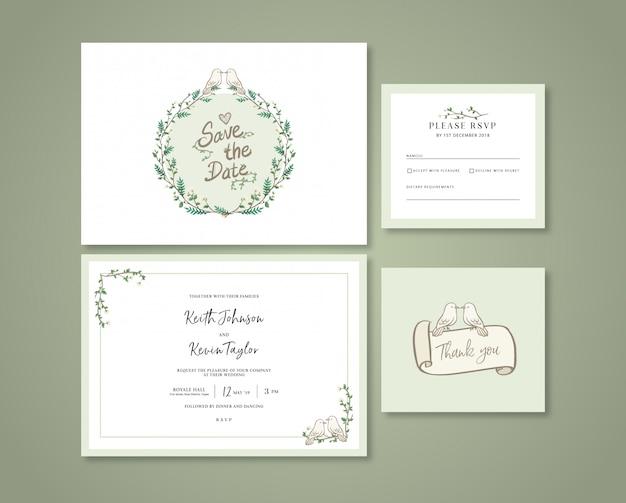 Faire-part de mariage vert pastel dessinée à la main