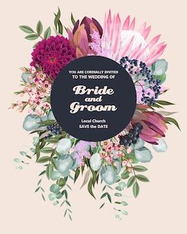 Faire-part de mariage vintage avec des fleurs et des feuillages très détaillés