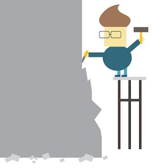 Faire toi-même. vector illustration plate - l'homme fait la statue d'un gros morceau de pierre