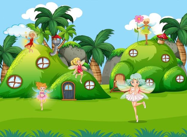 Fairys in fantasy nature scene