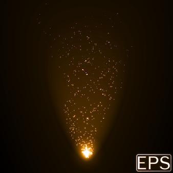 Faisceau d'énergie avec des particules. version couleur dorée.