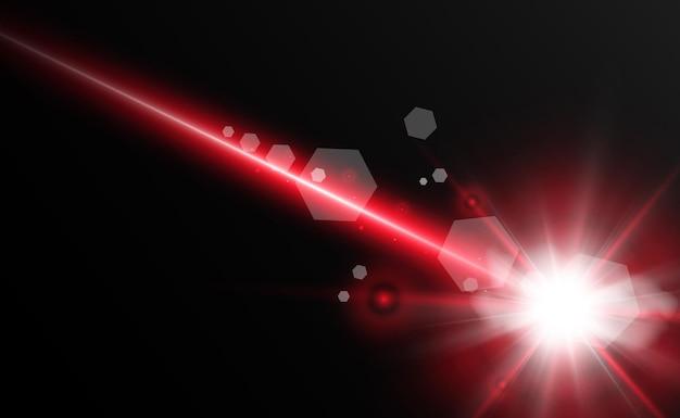 Faisceau laser abstrait transparent isolé sur fond noir illustration vectorielle