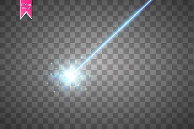 Faisceau laser bleu abstrait sur fond transparent