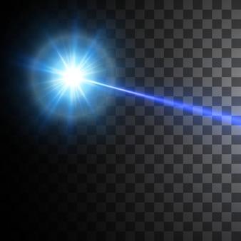 Faisceau laser bleu isolé sur fond noir