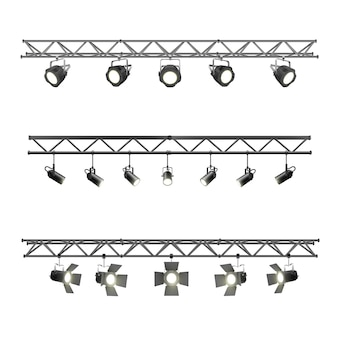 Faisceau métallique d'éclairage réaliste avec équipement de projecteurs pour l'éclairage de scène de studio et de pavillon d'exposition. ensemble de projecteurs en treillis métallique