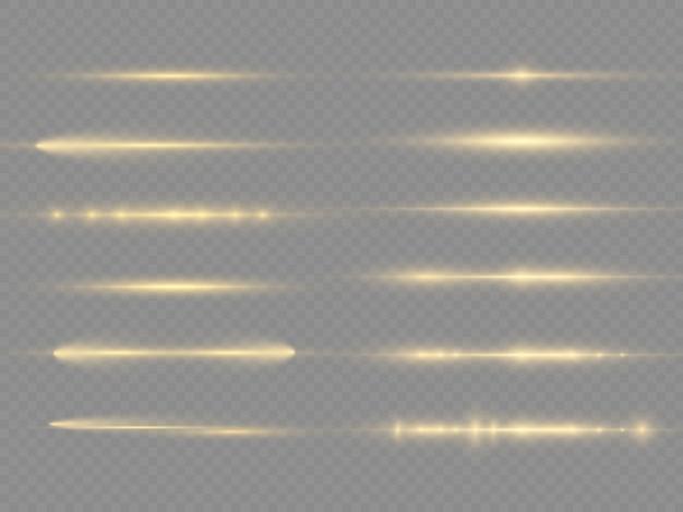 Faisceaux laser, lumière parasite, rayons lumineux horizontaux, ligne jaune éclatante.