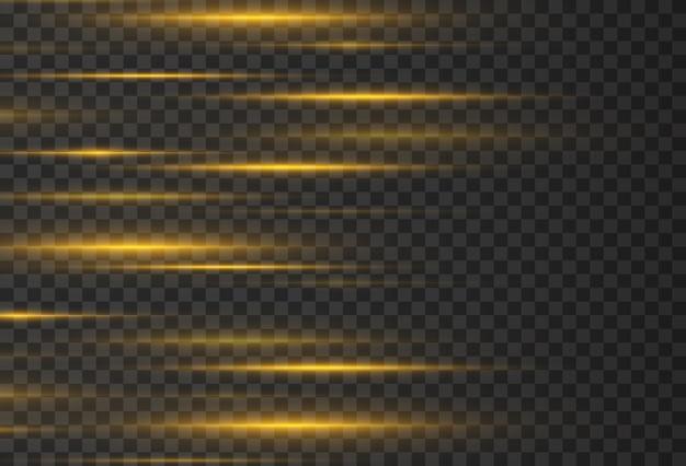 Faisceaux laser rayons lumineux horizontaux belles éruptions lumineuses