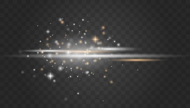 Faisceaux laser, rayons lumineux horizontaux.belles fusées éclairantes.