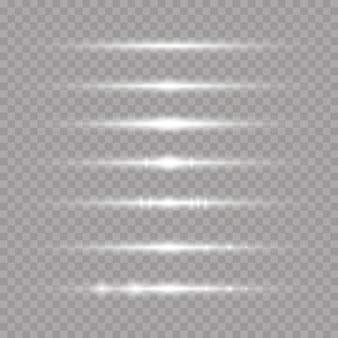 Faisceaux laser, rayons lumineux horizontaux ensemble de reflets à lentilles blanches