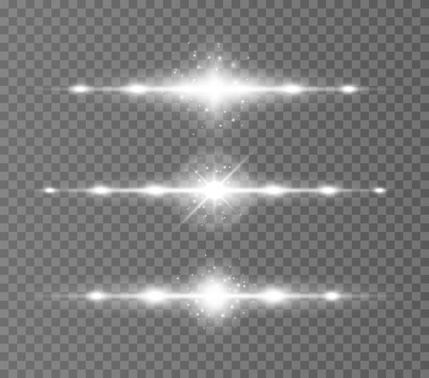 Faisceaux laser rayons lumineux horizontaux sur transparent