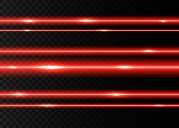 Faisceaux laser rouges avec des cils sur fond transparent noir