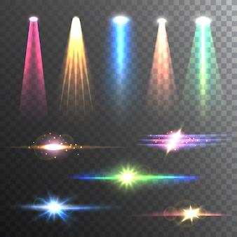 Faisceaux de lumière couleur sur la composition noire