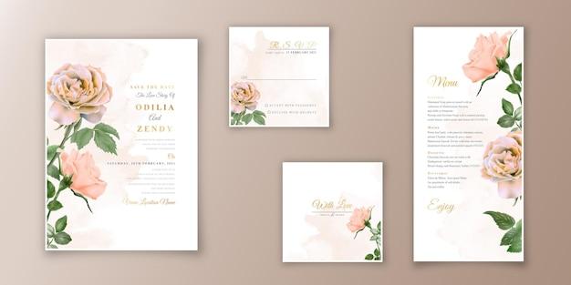 Faisceaux de modèles d'invitation de mariage avec des roses aquarelle