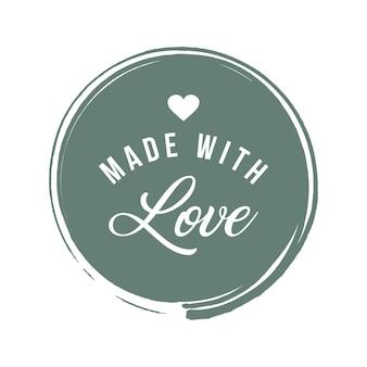 Fait avec citation de lettrage d'inscription d'amour. calligraphie faite avec amour. carte faite avec amour. illustration vectorielle.