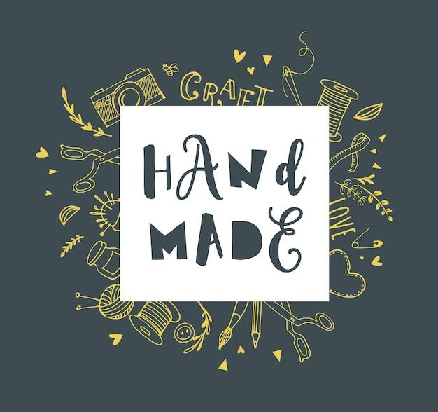 Fait à la main, atelier d'artisanat, foire d'art et affiche de festival
