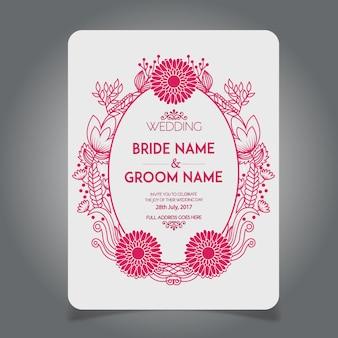 Fait à la main belle invitation de mariage floral rose