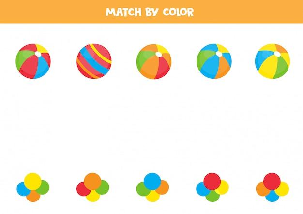 Faites correspondre les balles par couleur. jeu de tri pour les enfants.