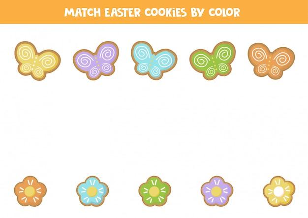 Faites correspondre les fleurs et les papillons de pâques par couleurs.