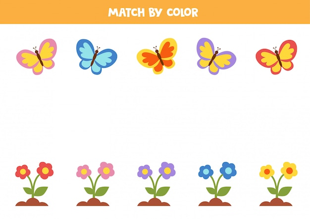 Faites correspondre les fleurs et les papillons par couleur. jeu de correspondance.