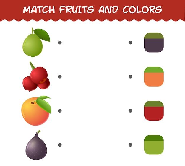 Faites correspondre les fruits et les couleurs des dessins animés. jeu de correspondance. jeu éducatif pour les enfants et les tout-petits de la pré-école