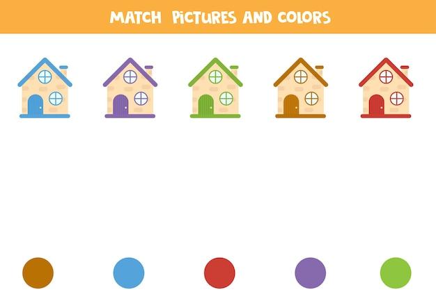 Faites correspondre les maisons et les couleurs. jeu de logique éducatif. apprendre les couleurs.