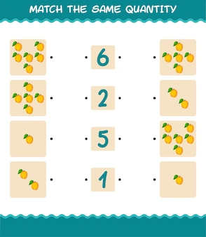 Faites correspondre la même quantité d'abricot. jeu de comptage. jeu éducatif pour les enfants et les tout-petits de la pré-école