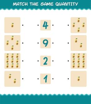 Faites correspondre la même quantité d'avocat. jeu de comptage. jeu éducatif pour les enfants et les tout-petits de la pré-école