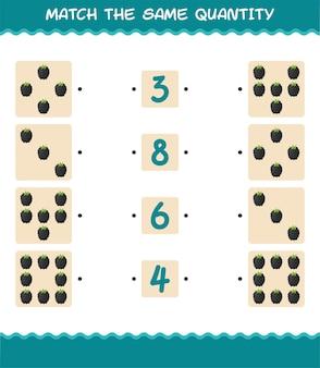 Faites correspondre la même quantité de mûre. jeu de comptage. jeu éducatif pour les enfants et les tout-petits de la pré-école