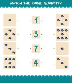 Faites correspondre la même quantité de myrtille. jeu de comptage. jeu éducatif pour les enfants et les tout-petits de la pré-école