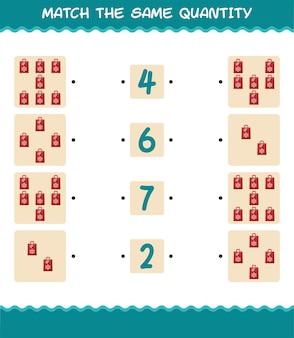Faites correspondre la même quantité de sac en papier. jeu de comptage. jeu éducatif pour les enfants et les tout-petits de la maternelle