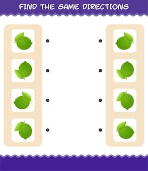 Faites correspondre les mêmes directions de chaux. jeu de correspondance. jeu éducatif pour les enfants et les tout-petits de la maternelle