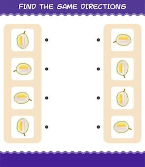 Faites correspondre les mêmes directions de durian. jeu de correspondance. jeu éducatif pour les enfants et les tout-petits de la maternelle