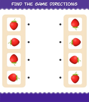 Faites correspondre les mêmes directions de fraise. jeu de correspondance. jeu éducatif pour les enfants et les tout-petits de la maternelle