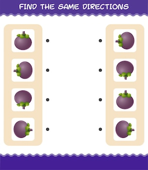 Faites correspondre les mêmes directions de mangoustan. jeu de correspondance. jeu éducatif pour les enfants et les tout-petits de la maternelle