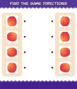Faites correspondre les mêmes directions de nectarine. jeu de correspondance. jeu éducatif pour les enfants et les tout-petits de la maternelle