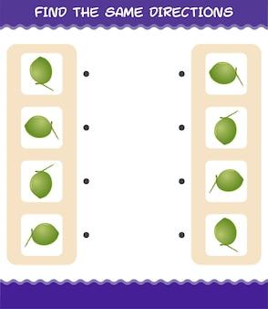 Faites correspondre les mêmes directions de noix de coco. jeu de correspondance. jeu éducatif pour les enfants et les tout-petits de la maternelle