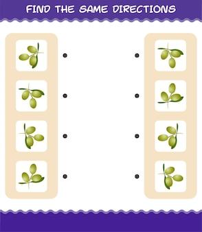 Faites correspondre les mêmes directions d'olive. jeu de correspondance. jeu éducatif pour les enfants et les tout-petits de la maternelle